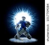 ice hockey goalkeeper on a... | Shutterstock . vector #1017709084