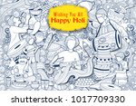 illustration of colorful happy... | Shutterstock .eps vector #1017709330