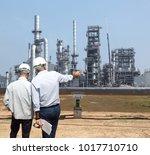 double exposure of engineer... | Shutterstock . vector #1017710710