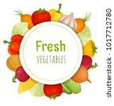 vector frame of vegetable. card ... | Shutterstock .eps vector #1017712780