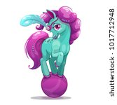 little cute cartoon horse on... | Shutterstock .eps vector #1017712948