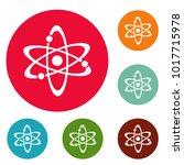atom icons circle set vector...   Shutterstock .eps vector #1017715978