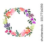 watercolor frame of flowers.... | Shutterstock . vector #1017716350