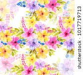 watercolor floral seamless...   Shutterstock . vector #1017719713