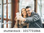 happy young couple taking... | Shutterstock . vector #1017731866