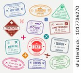 passport stamp set. different... | Shutterstock .eps vector #1017736270