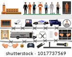 prison equipment and uniforms.... | Shutterstock .eps vector #1017737569