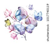 spring butterflies and magnolia ... | Shutterstock . vector #1017740119