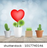 tree of heart on wood with... | Shutterstock .eps vector #1017740146