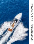 aerial view luxury motor boat | Shutterstock . vector #1017740968