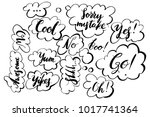 handwritten exclamation and... | Shutterstock .eps vector #1017741364