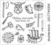 viking elements hand drawn... | Shutterstock .eps vector #1017744304