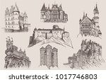 graphical set of vintage... | Shutterstock .eps vector #1017746803