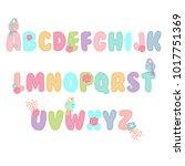 font for girl  girly font | Shutterstock .eps vector #1017751369