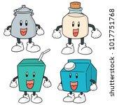 vector set of milk product... | Shutterstock .eps vector #1017751768