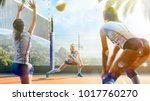 professional female volleyball... | Shutterstock . vector #1017760270
