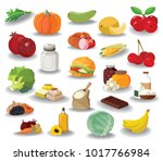 food. fruits  vegetables  fats  ... | Shutterstock .eps vector #1017766984
