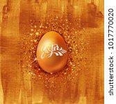 realistic golden easter egg... | Shutterstock .eps vector #1017770020