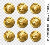 set of realistic 3d golden... | Shutterstock .eps vector #1017774859