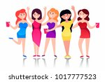 party. girls. hen party. vector ... | Shutterstock .eps vector #1017777523
