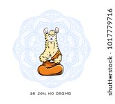 cute meditating furry llama.... | Shutterstock .eps vector #1017779716