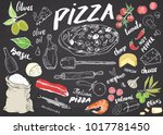 pizza menu hand drawn sketch... | Shutterstock .eps vector #1017781450