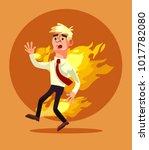 man burn. vector flat cartoon... | Shutterstock .eps vector #1017782080