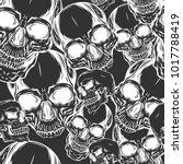 dead skull seamless pattern... | Shutterstock .eps vector #1017788419