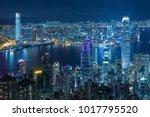 aerial view of victoria harbor... | Shutterstock . vector #1017795520
