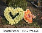 heart shaped sympathy flowers ... | Shutterstock . vector #1017796168