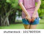 women with menstrual pain   or  ... | Shutterstock . vector #1017805534