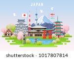 japan spring travel infographic.... | Shutterstock .eps vector #1017807814