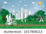 paper art style of landscape... | Shutterstock .eps vector #1017808213