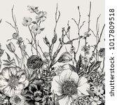 seamless border. spring flowers ... | Shutterstock .eps vector #1017809518