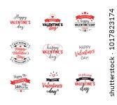 valentines day lettering set | Shutterstock .eps vector #1017823174