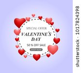 valentines day sale background... | Shutterstock .eps vector #1017824398