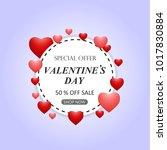 valentines day sale background... | Shutterstock . vector #1017830884