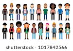 vector set of cartoon flat... | Shutterstock .eps vector #1017842566