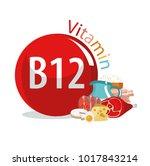 vitamin b12. food sources.... | Shutterstock .eps vector #1017843214