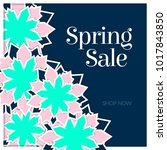 spring sale poster with paper... | Shutterstock .eps vector #1017843850