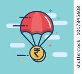 parachute with rupee gold coin... | Shutterstock .eps vector #1017845608