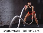battle ropes session.... | Shutterstock . vector #1017847576