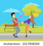 cute lovers merrily hold hands  ... | Shutterstock .eps vector #1017848200