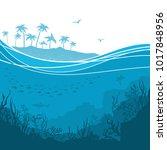 underwater sea background with... | Shutterstock .eps vector #1017848956