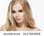 beautiful woman face close up... | Shutterstock . vector #1017849808