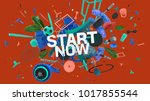 attractive 3d composition with... | Shutterstock . vector #1017855544