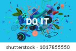colorful positive and trendy... | Shutterstock . vector #1017855550