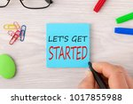 hand writing let's get started... | Shutterstock . vector #1017855988