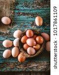 organic eggs on wood. fresh... | Shutterstock . vector #1017861109