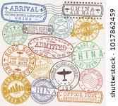 hong kong china stamp vector... | Shutterstock .eps vector #1017862459